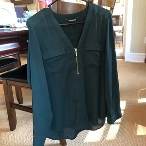 Express zip front dark green top